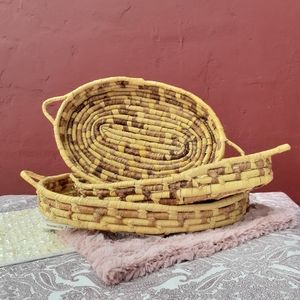 Woven Basket Tray Set Wall Hanging Home Decor Gift